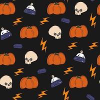 Cute black pattern with doodles pumpkins halloween magic Seamless vector
