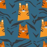 Seamless pattern cute tiger on a blue background vector