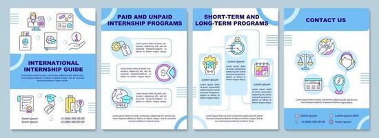 International internship guide brochure template vector
