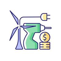 Energy equipment installation price RGB color icon vector