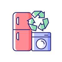 programa de reciclaje de electrodomésticos icono de color rgb vector