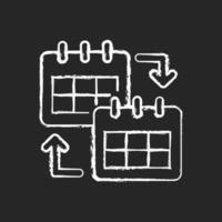 Calendar sharing chalk white icon on dark background vector