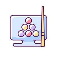 Online billiard games RGB color icon vector