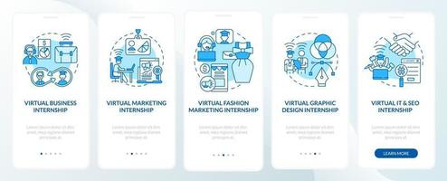 Top remote internship fields onboarding mobile app page screen vector