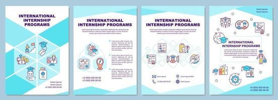 International internship programs brochure template vector
