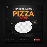 Special menu pizza time social media banner template vector