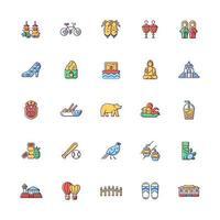 Taiwan RGB color icons set. vector