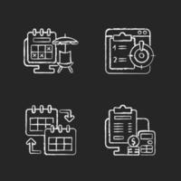 Remote work trackers chalk white icons set on dark background vector