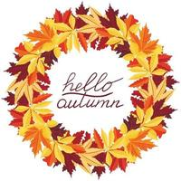 Vector wreath with autumn leaves and a handwritten inscription