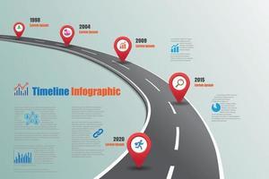 Plantilla de infografía de línea de tiempo de hoja de ruta empresarial, ilustración vectorial vector