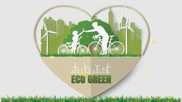 Father-son join hands activities cycling in park green city paper art vector