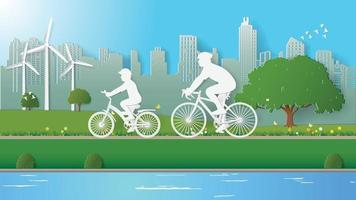 Green energy concepts, father and son are riding bicycle in city parks vector