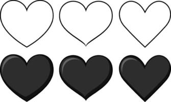 Set of different shapes of heart vector