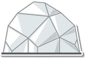 Sticker template with an igloo house  in cartoon style isolated vector