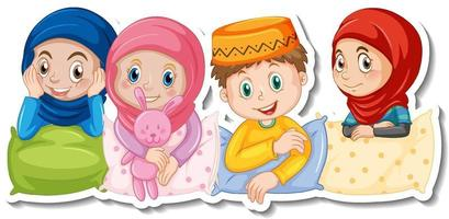 A sticker template with muslim kids in pajamas costume vector