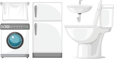 Toilet furniture set for interior design on white background vector