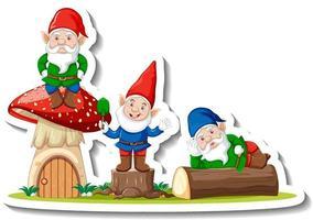 A sticker template with garden gnomes or dwarfs cartoon chracter vector