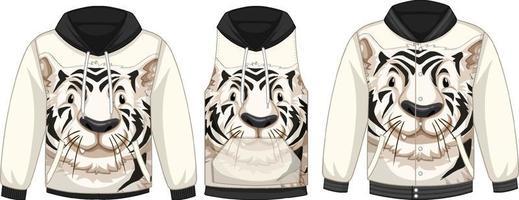 conjunto de diferentes chaquetas con plantilla de tigre blanco vector