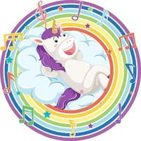 Unicorn in rainbow round frame with melody symbol vector