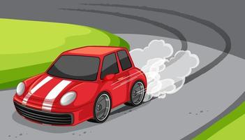 A red car drive on the road scene vector