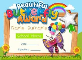 Certificate template with Beautiful Butterfly Award vector