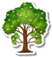 Orange tree sticker on white background vector