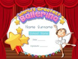 plantilla de certificado para la mejor bailarina del mundo vector