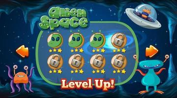 Level up screen game with alien and ufo theme template vector