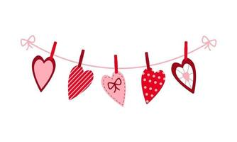 Various Valentine hearts hanging on the rope on the clothespins vector
