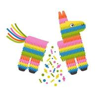 Broken pinata donkey for birthday party vector