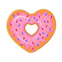 Heart shaped donut. Delicious dessert for Valentines day vector