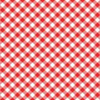 Diagonal gingham seamless pattern. Red and white squares background vector