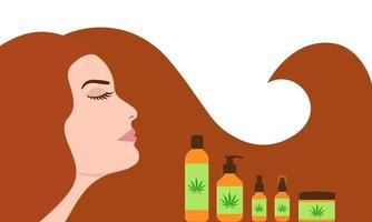 Woman with long strong hair near cbd oil products vector