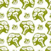 broccoli vector seamless pattern colored