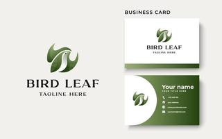 Bird with Leaf Concept Logo Template Isolated in White Background vector