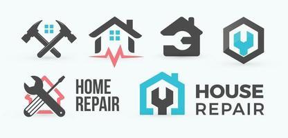 Home repair flat cartoon vector logo set. House master service icons