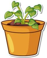 Sticker design with plant in a pot isolated vector