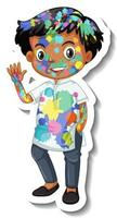 Happy boy with colour on his body sticker on white background vector