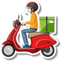 A sticker template with delivery man on motor scooter vector