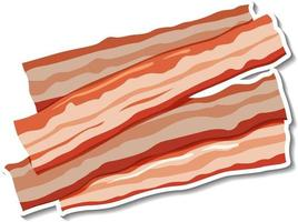 Raw bacon stripes sticker on white background vector