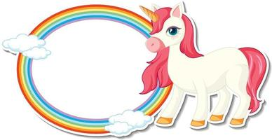 Cute unicorn stickers with blank rainbow frame template vector