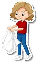 Diseño de etiqueta con una niña quitarse el abrigo aislado vector