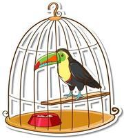 A toucan bird in a cage sticker vector