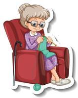 una plantilla de pegatina con una anciana tejiendo y sentada en el sofá vector