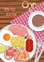 Top view of breakfast set in a dish with a cup of coffee on the table vector