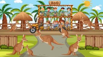 Safari at day time scene with many kids watching kangaroo group vector