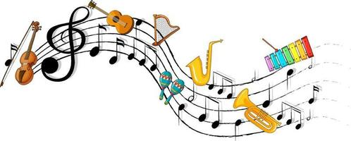 Musical melody symbols with many doodle kids cartoon character vector