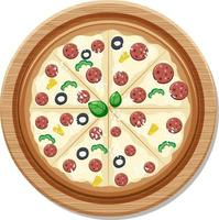 Top view of a whole delicious pizza on wooden plate vector