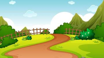 Nature park landscape at daytime scene with pathway through the meadow vector