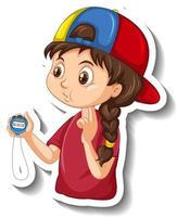 Cartoon character sticker with sport coach girl holding a timer vector